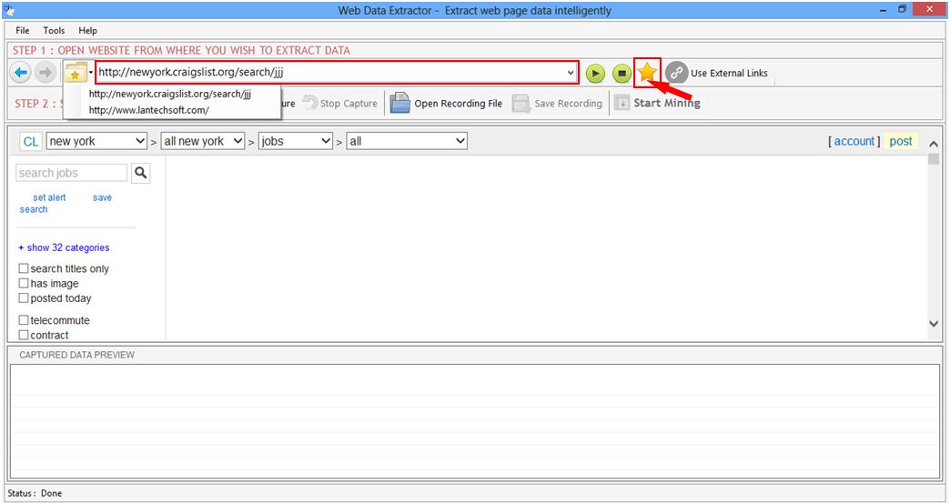 Web data extractor key generator
