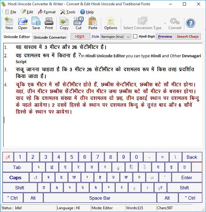 Hindi Unicode Converter & Writer