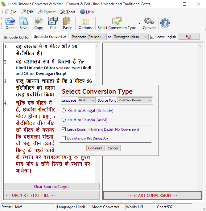 Hindi Unicode Converter & Writer
